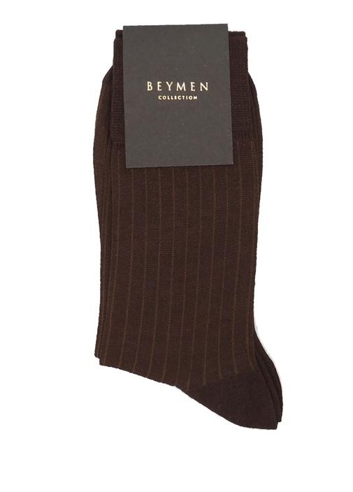 Kahverengi Ribli Erkek Bambu Çorap