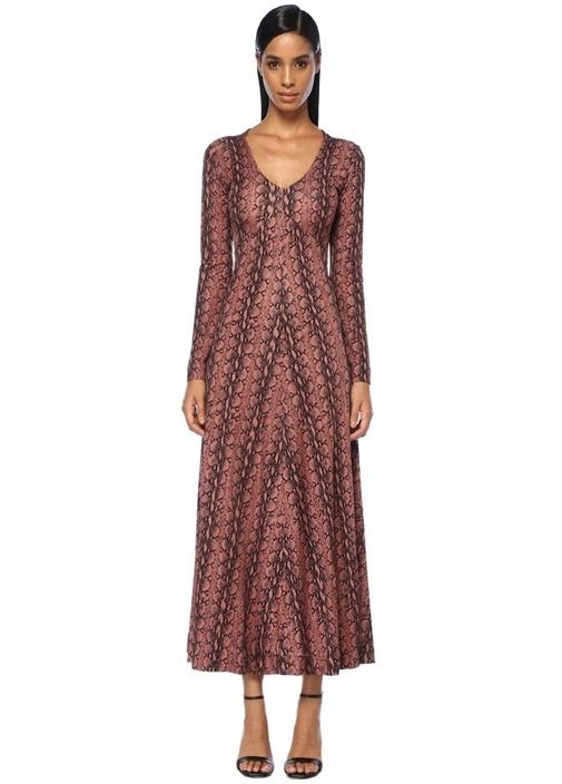 Pembe V Yaka Yılan Derisi Desenli Maxi Elbise
