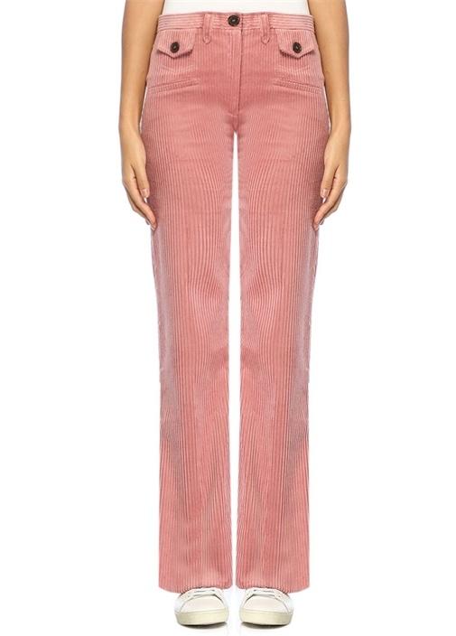 Pembe Yüksek Bel Boru Paça Kadife Pantolon