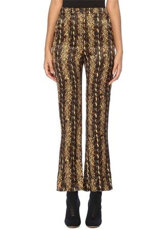 Alexa Chung Kadın Yüksek Bel Yılan Derisi Desenli Saten Pantolon Kahverengi 10 US