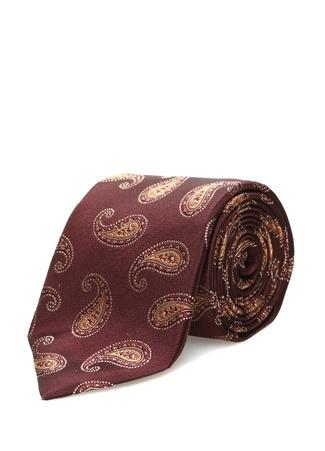 Isaia Erkek Kahverengi Şal Desenli İpek Kravat Ürün Resmi