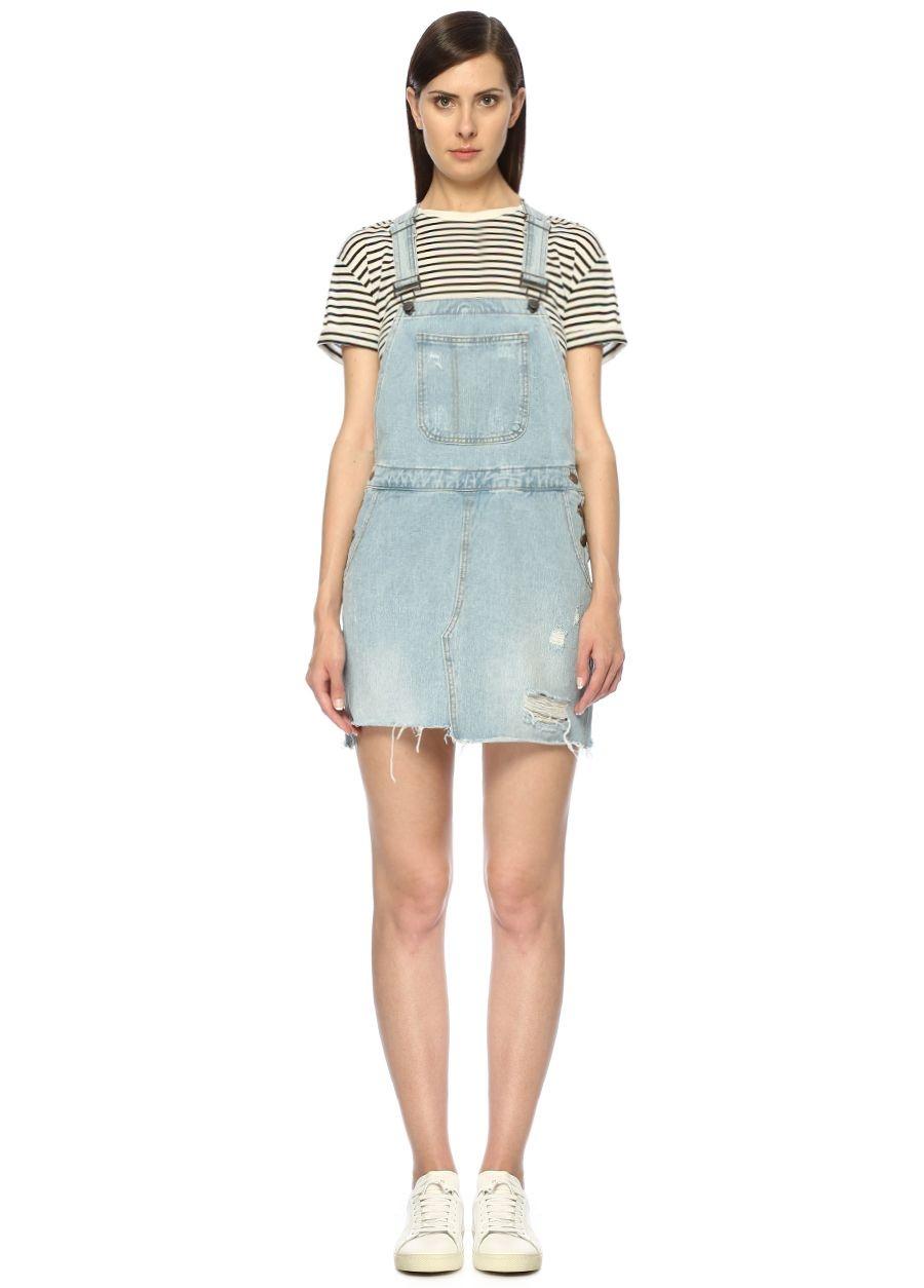 Evidnt Denim Kare Yaka Askılı Yıpratmalı Mini Jean Elbise