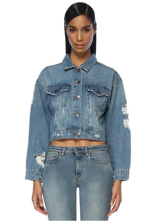 Yıpratmalı Oversize Crop Jean Ceket