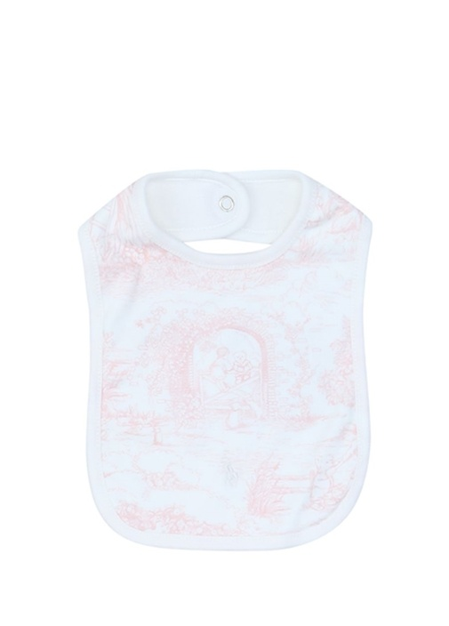 Pembe Beyaz Baskılı Kız Bebek Önlük