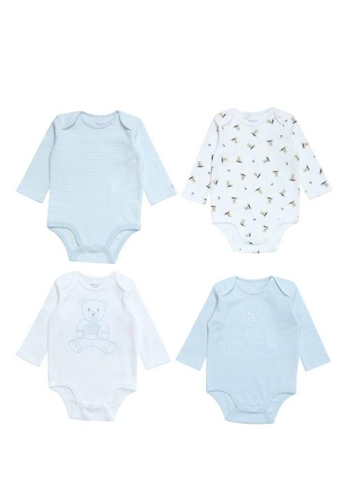Mavi Ayıcıklı 4lü Erkek Bebek Hediye Seti