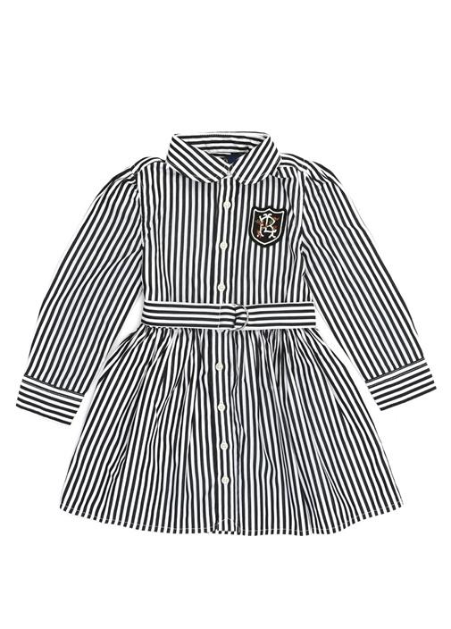 Bengal Çizgili Bebe Yaka Kız Çocuk Elbise