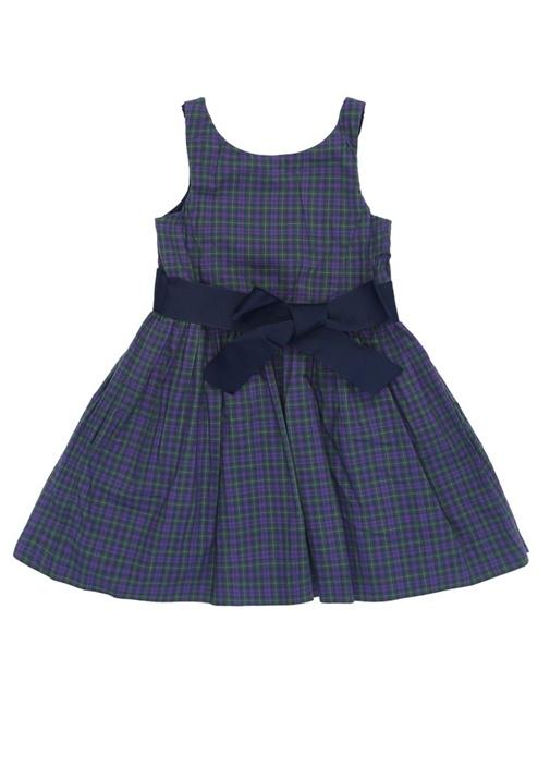 Mor Ekoseli Kuşaklı Pileli Çocuk Elbise