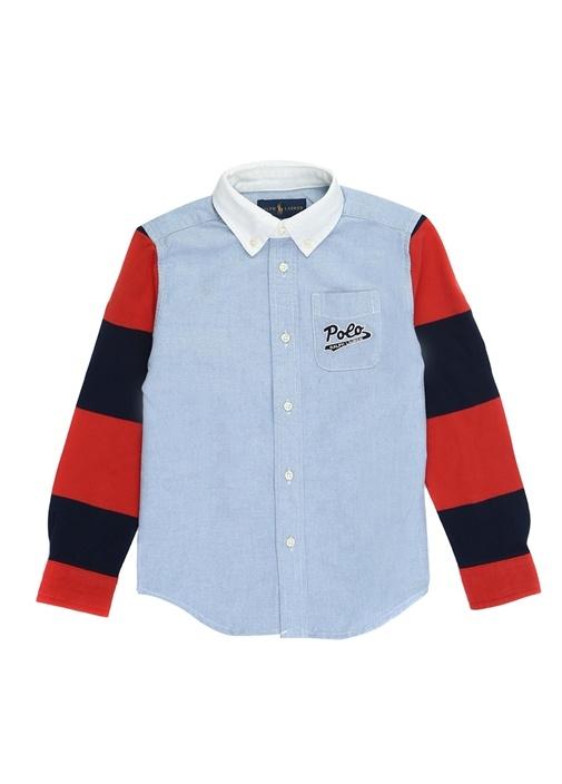 Novelty Mavi Dokulu Kol Detaylı Erkek Çocuk Gömlek