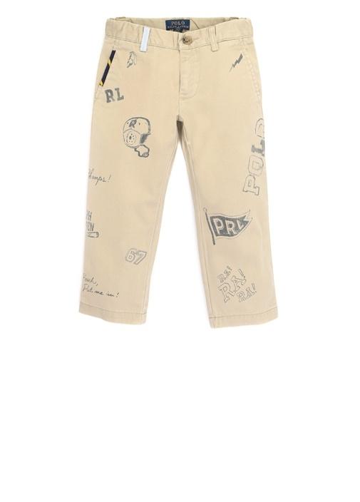 Diary Bej Baskılı Erkek Çocuk Kanvas Pantolon