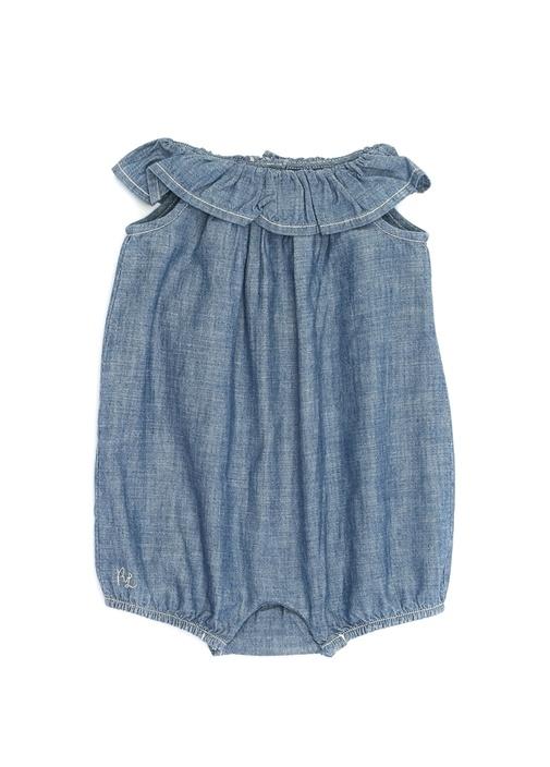 Mavi Kayık Yaka Fırfırlı Kız Bebek Tulum