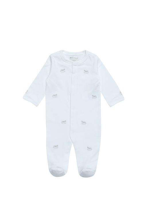 Beyaz At Nakışlı Erkek Bebek Tulum