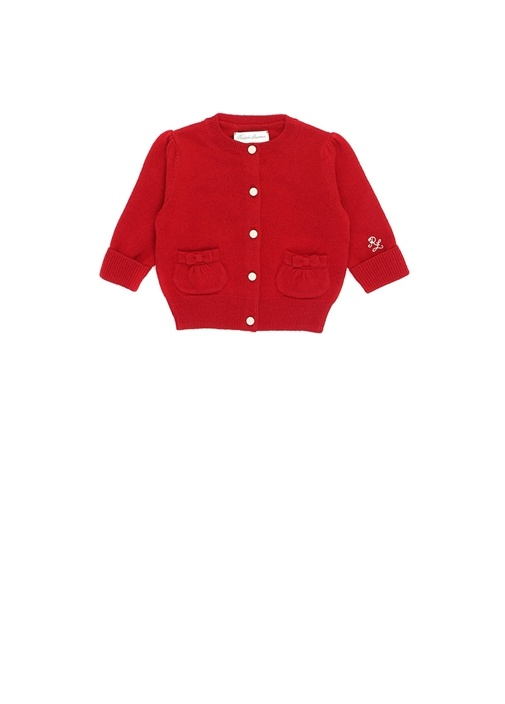 Holiday I Kırmızı 2 Cepli Kız Bebek YünHırka