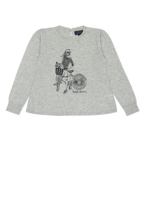 Gri Bisiklet Yaka Jakarlı Kız Çocuk Sweatshirt