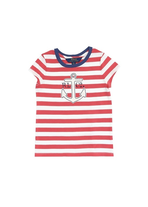Kırmızı Beyaz Çapa Patchli Kız Çocuk T-shirt