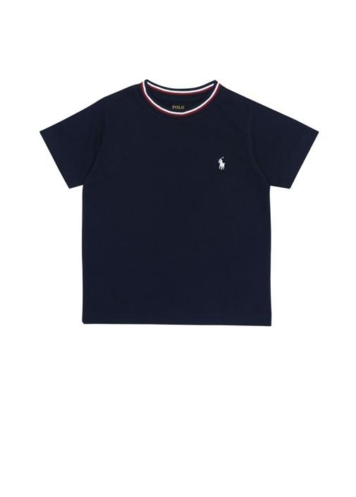 Lacivert Bisiklet Yaka Şeritli Erkek Çocuk T-shirt