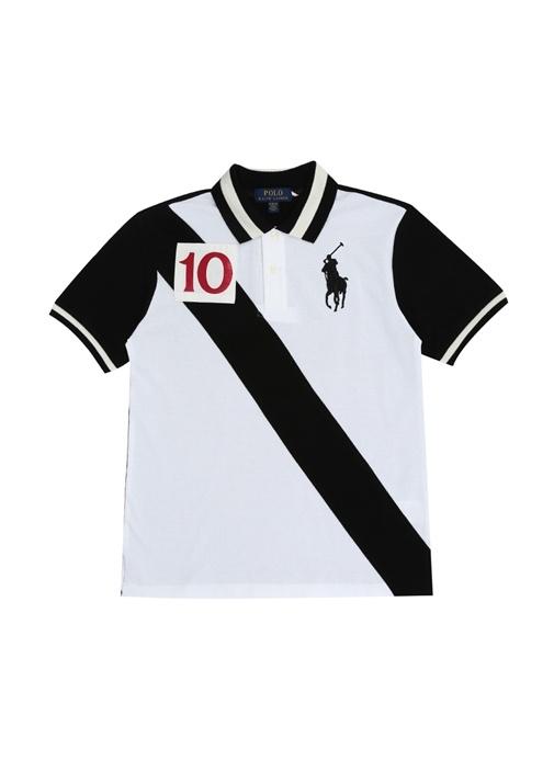 Beyaz Verev Çizgili Polo Yaka Erkek Çocuk T-shirt