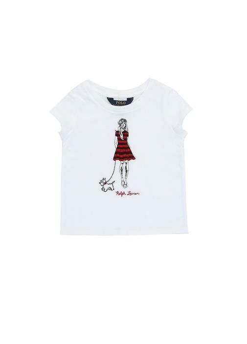 Beyaz Kadın Nakışlı Kız Çocuk Basic T-shirt