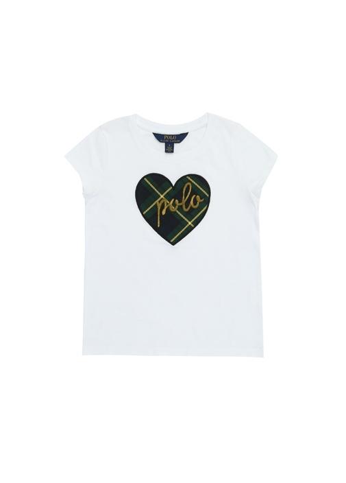 Heart Beyaz Patchli Kız Çocuk Basic T-shirt