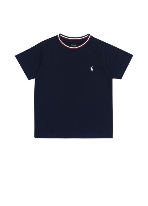 Lacivert Şerit Ribli Logolu Erkek ÇocukT-shirt
