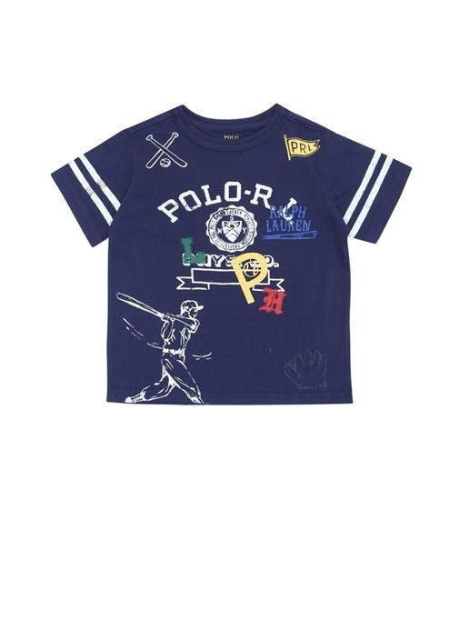 Lacivert Bisiklet Yaka Baskılı Erkek Çocuk T-shirt