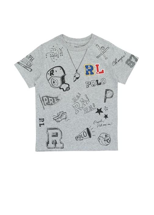 Gri Logo Patchli Baskılı Erkek Çocuk T-shirt