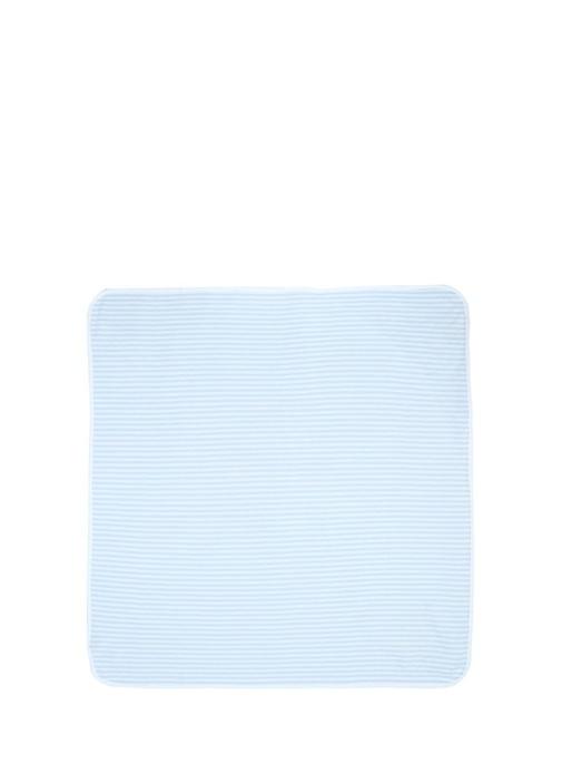 Mavi Beyaz Çizgili Kapüşonlu Erkek Bebek Battaniye