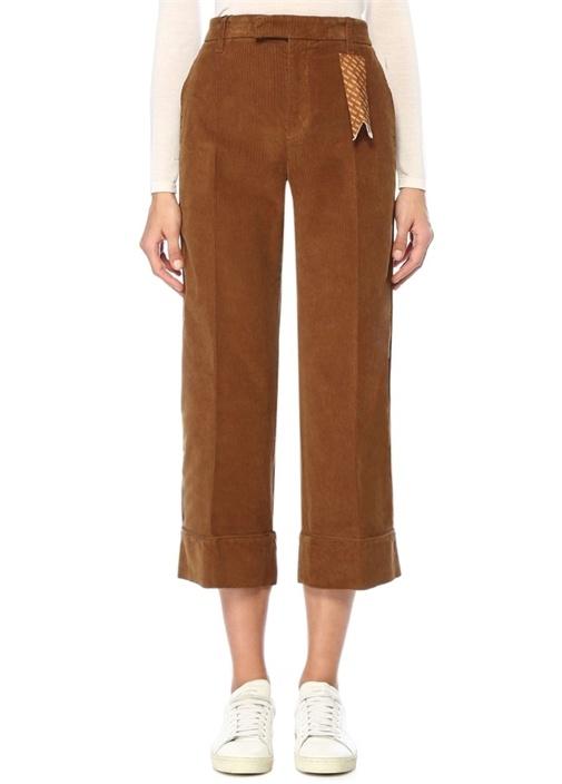 Irma Kamel Normal Bel Crop Kadife Pantolon