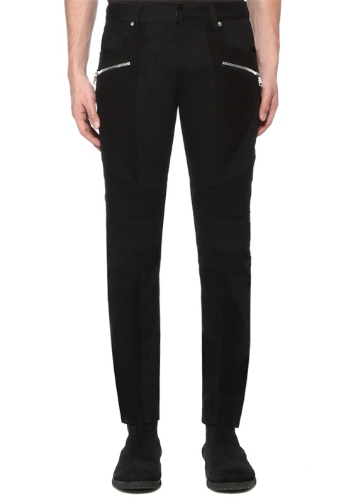 Slim Fit Siyah Nervür Detaylı Jean Pantolon