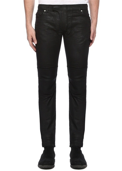 Slim Fit Siyah Diz Detaylı Jean Pantolon