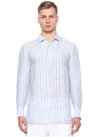 Frescobol Carioca Erkek Lacivert Beyaz Çizgili Keten Gömlek Mavi XL