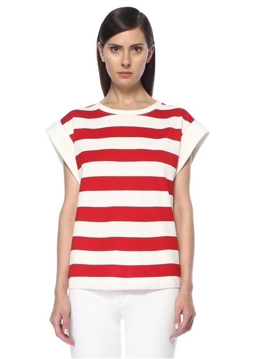 Kırmızı Beyaz Çizgili Sırtı Bağcıklı Bluz