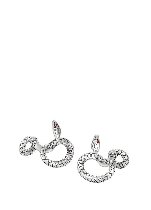 Serpent Silver Yılan Formlu Kol Düğmesi