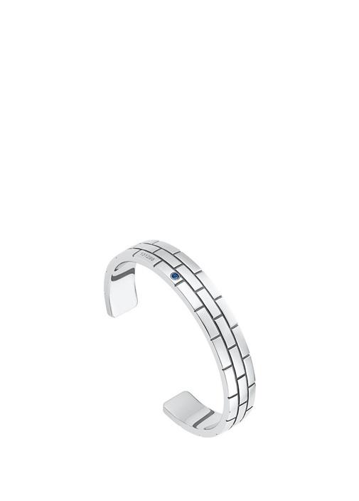Silver Kelepçe Formlu Taşlı Çelik Bileklik