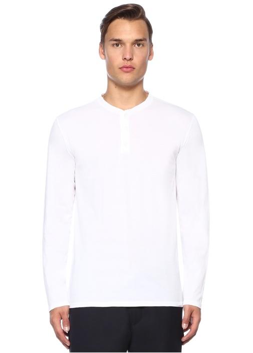 Beyaz Dik Yaka Düğmeli Uzun Kollu T-shirt