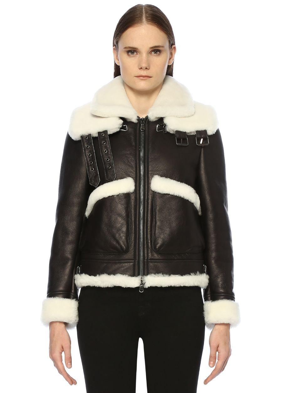 Forte Couture Maverik 2 Siyah Beyaz Yaka Detaylı Dericeket