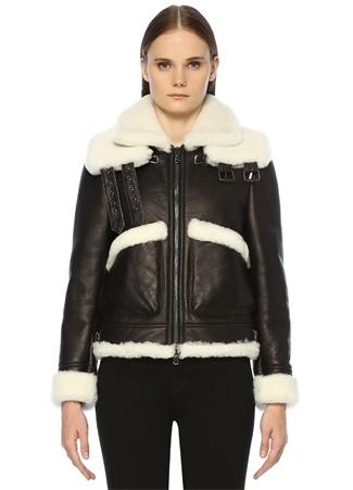 Forte Couture Kadın Maverik 2 Siyah Beyaz Yaka Detaylı DeriCeket 40 IT (ITALY)