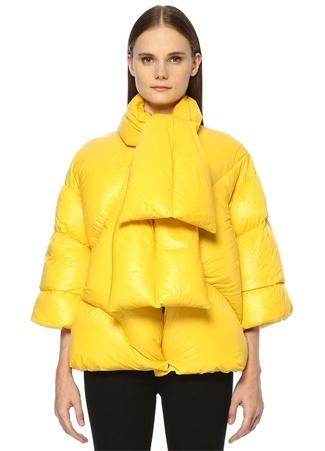 Forte Couture Kadın itti Sarı Yakası Bağlı Oversize Puf Mont 40 I (IALY)