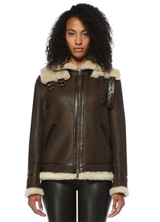 Forte Couture Kadın Top Gun Kahverengi Yaka Detaylı Deri Ceket 40 IT