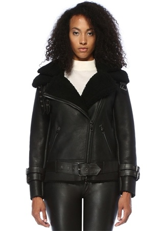 Forte Couture Kadın New Perfecto Siyah Yaka Detaylı Deri Ceket 40 IT