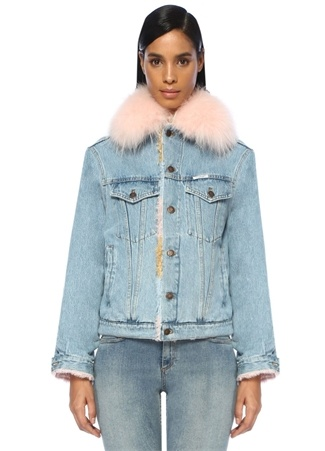 Forte Couture Kadın Pink Shearling Detaylı Jean Ceket Mavi 40 IT