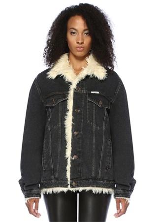 Forte Couture Kadın Siyah Polo Yaka Düğme Kapatmalı üylü Denim Ceket XS