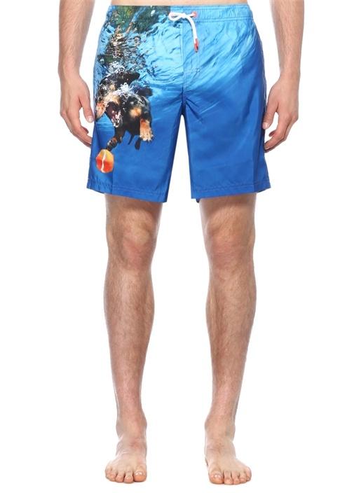 Mavi Beli Lastikli Köpek Baskılı Şeritli Mayo