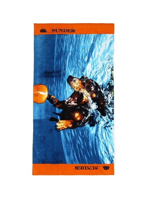 Mavi Turuncu Baskılı Logolu Erkek Plaj Havlusu