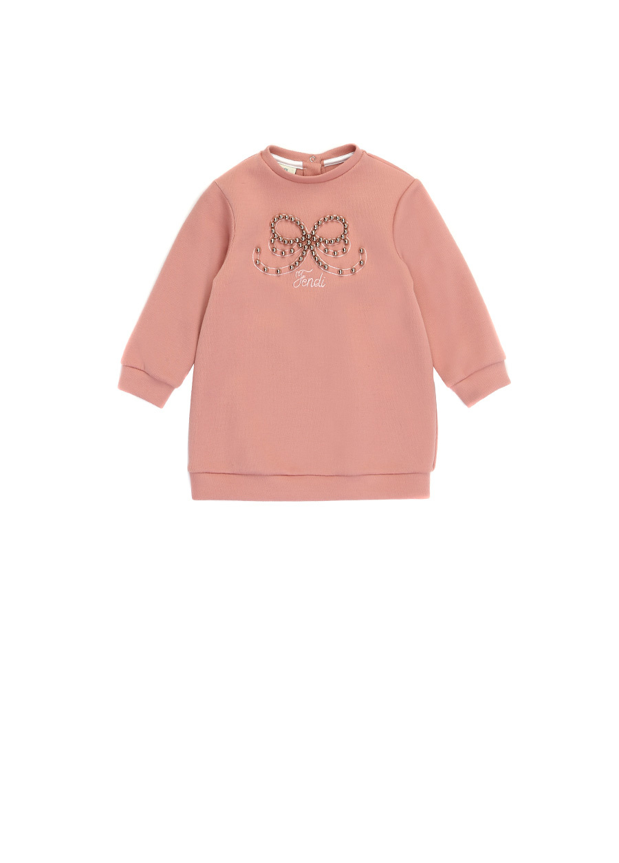 Fendi Pembe Logo Nakışlı Troklu Kız Çocuk Elbise