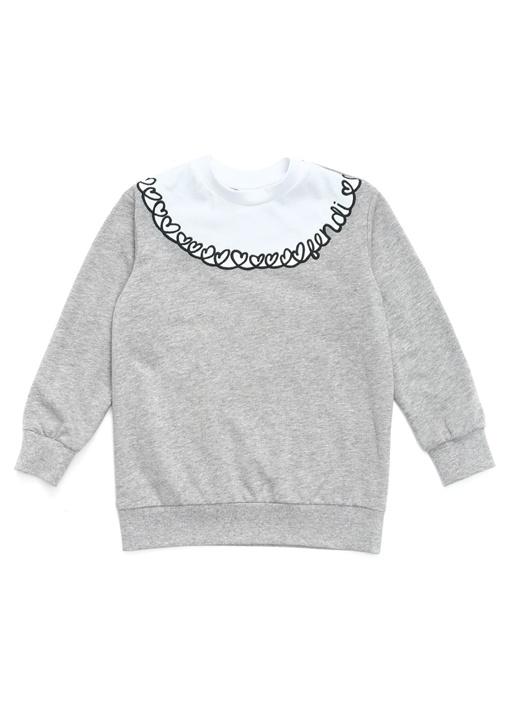 Gri Beyaz Kalp Nakışlı Kız Çocuk Sweatshirt