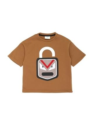 Fendi Erkek Çocuk Kahverengi Canavar Baskılı -shirt 4 Yaş Ürün Resmi