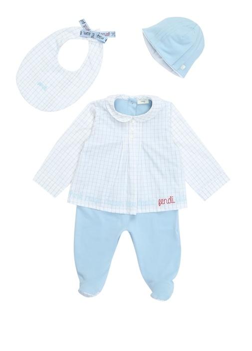 3lü Mavi Beyaz Ekoseli Erkek Bebek Tulum Seti