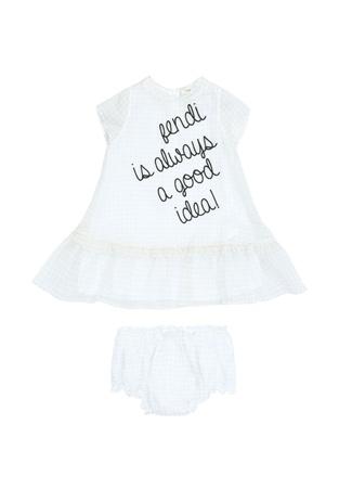 Fendi Kız Bebek Beyaz Yazı Nakışlı Elbise 24 Ay ST
