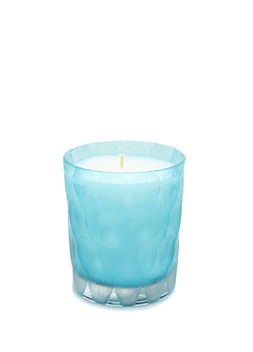 Mavi Silindir Formlu Cam Mumluk