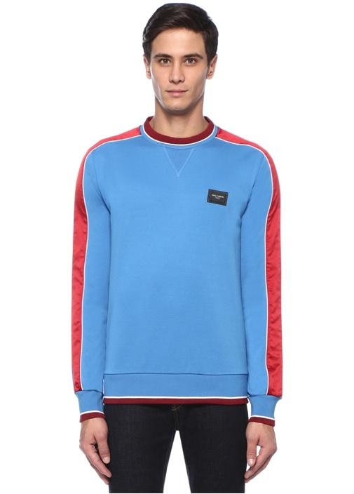 Mavi Şerit Detaylı Logolu Sweatshirt